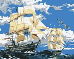 """РН-011 Картина по номерам """"Корабли в море"""" (40х50 см) на холсте"""