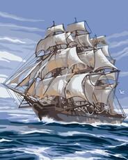 """РН-046 Картина по номерам """"Корабль"""" (40х50 см) на холсте"""