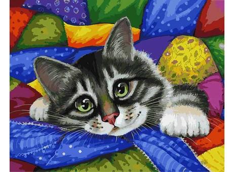 "002-АВ Картина по номерам ""Котик в лоскутах"" (40х50 см)"