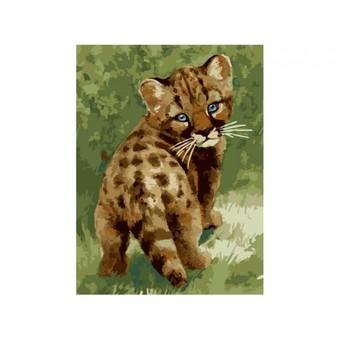 """008-CЕ Картина по номерам """"Детеныш леопарда"""" (30х40 см)"""