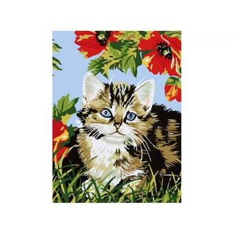 "009-CЕ Картина по номерам ""Котенок в цветах"" (30х40 см)"