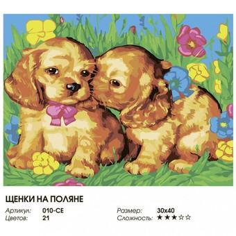"010-CЕ Картина по номерам ""Щенки на поляне"" (30х40 см)"