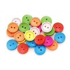 878-DB Пуговицы декоративные Круг №1, 50 шт. 1.5 см. цветные