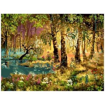 "066-AS Картина по номерам ""Утро в лесу"" (30х40 см)"