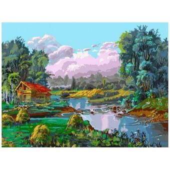 "067-AS Картина по номерам ""Стога у реки"" (30х40 см)"