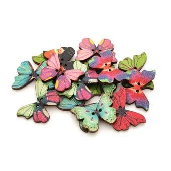 872-DB Пуговицы декоративные Бабочки 20 шт. 2.8 см. цветные