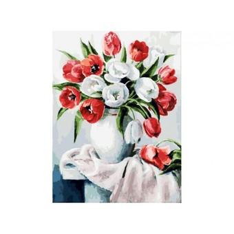 """070-AS Картина по номерам """"Красные и белые"""" (30х40 см)"""