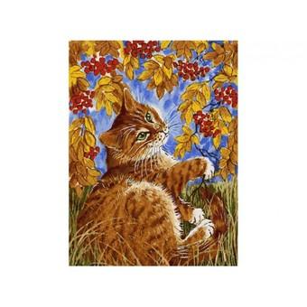 """118-AS Картина по номерам """"Кот с рябиной"""" (30х40 см)"""