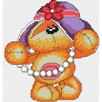 """774-14 Набор для вышивания крестом """"Мишутка модница"""" (21 х22 см)"""