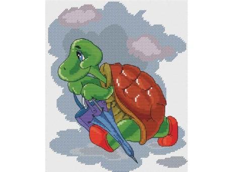 """123-14 Набор для вышивания крестом """"Черепаха с зонтиком"""" (18х21,5 см)"""