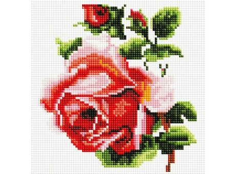 """350-ST-S Алмазная мозаика на подрамнике """"Изящная роза"""" (20х20 см)"""