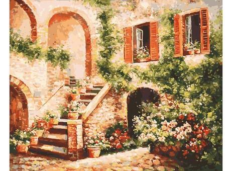"133-AB Картина по номерам ""Цветущий дворик"" (40х50 см)"