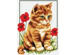 """855-14 Набор для вышивания крестом """"Котенок в цветах"""" (18х21,5 см)"""