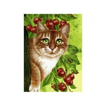 "149-AS Картина по номерам ""Кот на вишнёвом дереве"" (30х40 см)"