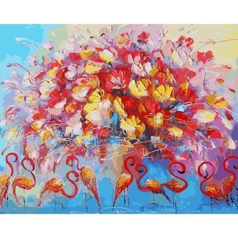 """156-AB Картина по номерам """"Танец красного фламинго"""" (40х50 см)"""
