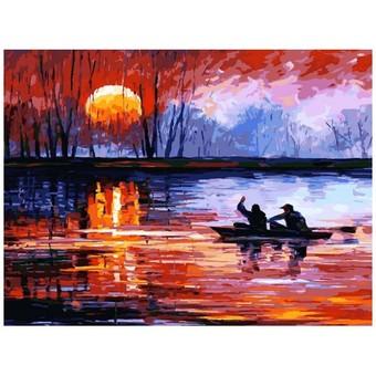 """157-АS Картина по номерам """"Рыбалка на закате"""" (30х40 см)"""