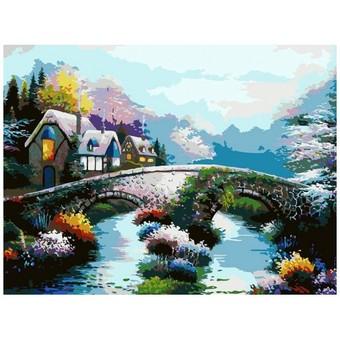 "169-AS Картина по номерам ""Старинный мост"" (30х40 см)"
