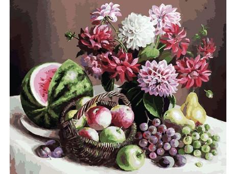 """172-AB Картина по номерам """"Георгины и фрукты"""" (40х50 см)"""