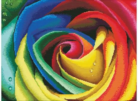 """2645-14 Набор для вышивания крестом """"Цветные лепестки"""" (38х48 см)"""