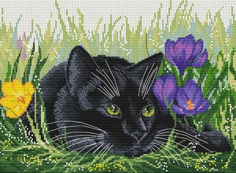 """183-14 Набор для вышивания крестом """"Кот и крокусы"""" (20х27,5 см)"""