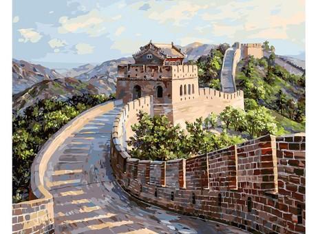 """195-AB Картина по номерам """"Великая Китайская стена"""" (40х50 см)"""