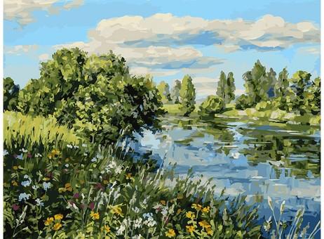 """196-AS Картина по номерам """"Летний день у реки"""" (30х40 см)"""