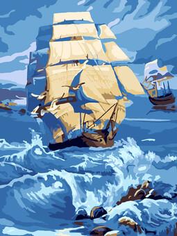 """РН2-026 Картина по номерам """"Корабль"""" (30х40 см) на холсте"""