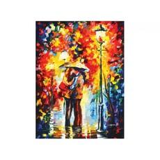 "3015-CS Картина по номерам ""Поцелуй под дождем"" (29,5х39,5 см) на картоне"