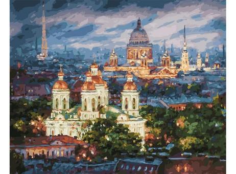 "201-AB Картина по номерам ""Все краски вечера. Санкт-Петербург"" (40х50 см)"