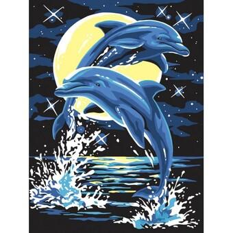"204-CE Картина по номерам ""Дельфины"" (30х40 см)"