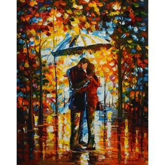 "208-AB Картина по номерам ""Поцелуй в парке"" (40х50 см)"