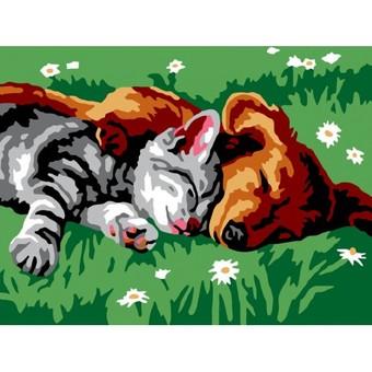 """210-CE Картина по номерам """"Котенок и щенок"""" (30х40 см)"""