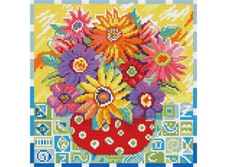 "291-ST-S Алмазная мозаика на подрамнике ""Цветики - цветочки"" (30х30 см)"