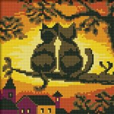 """016-ST-S Алмазная мозаика на подрамнике """"Две кошки"""" (20х20 см)"""