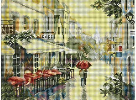 """339-ST-S Алмазная мозаика на подрамнике """"Прогулка по улицам Парижа"""" (30х40 см)"""
