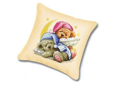 "P-989 Подушка для вышивания ""Два медвежонка (канва бежевая)"" (45х45 см)"