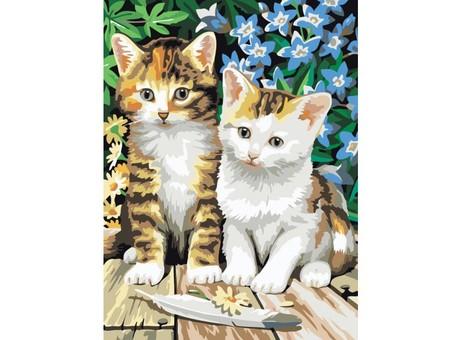 "231-CE Картина по номерам ""Котята"" (30х40 см)"