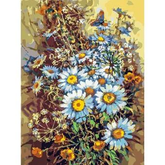 """249-AS Картина по номерам """"Букет с ромашками и бабочкой"""" (30х40 см)"""
