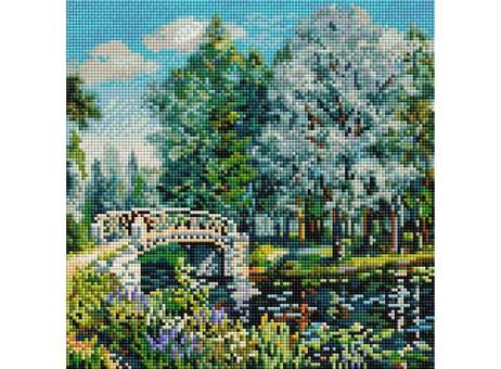 """268-ST-S Алмазная мозаика на подрамнике """"Мостик в парке"""" (30х30 см)"""