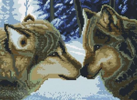 """260-ST-S Алмазная мозаика на подрамнике """"Два волка"""" (30х40 см)"""
