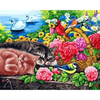 """273-AB Картина по номерам """"Корзина с цветами"""" (40х50 см)"""