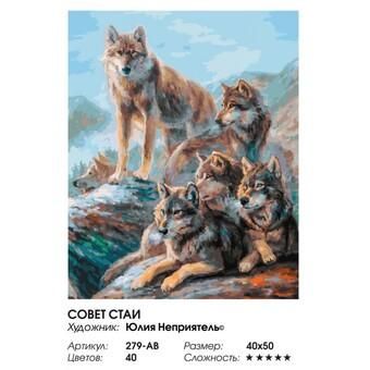 "279-AB Картина по номерам ""Совет стаи"" (40х50 см)"