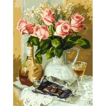 "283-AS Картина по номерам ""Розы и шоколад"" (30х40 см)"