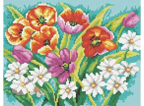 """271-ST-S Алмазная мозаика на подрамнике """"Прекрасные цветы"""" (30х40 см)"""