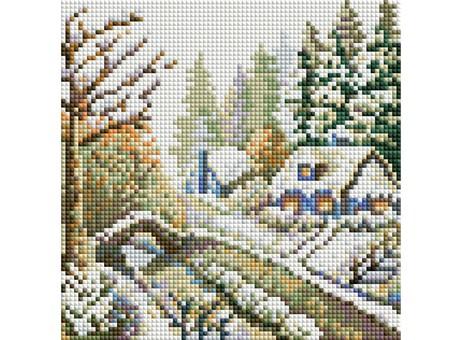 """393-ST-S Алмазная мозаика на подрамнике """"Зима"""" (20х20 см)"""