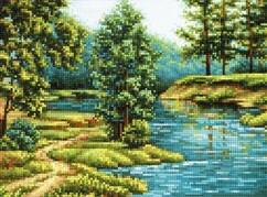 "БСА3-162 Алмазная мозаика ""Лесная речка"" (26х36 см)"