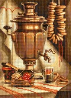 "БСА3-184 Алмазная мозаика ""Натюрморт с самоваром"" (26х36 см)"