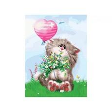 "3002-CS Картина по номерам ""Кот с букетом"" (29,5х39,5 см) на картоне"