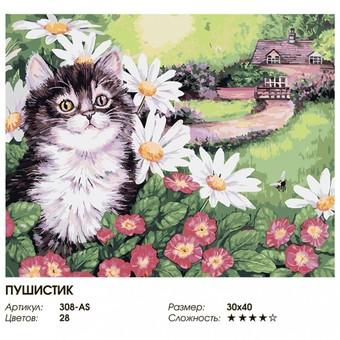"""308-AS Картина по номерам """"Пушистик"""" (30х40 см)"""