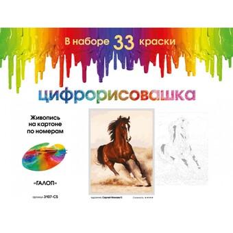 """3107-CS Картина по номерам """"Галоп"""" (30х40 см) на картоне"""